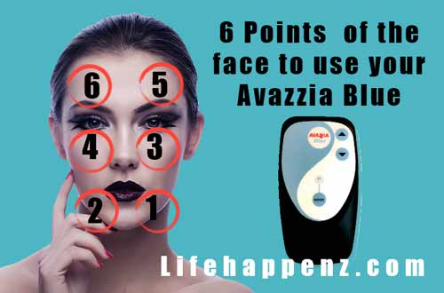 6 points on the face to use Avazzia Blue